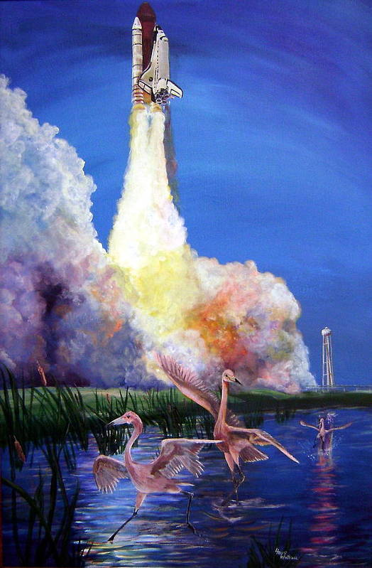 Space Art Print featuring the painting Lift Off by Leslie Hoops-Wallace