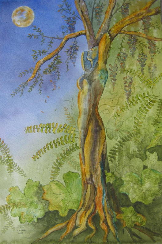 Fantasy Landscape With Figure Art Print featuring the painting Maiden - Earth Mother Iv  by Patsy Sharpe
