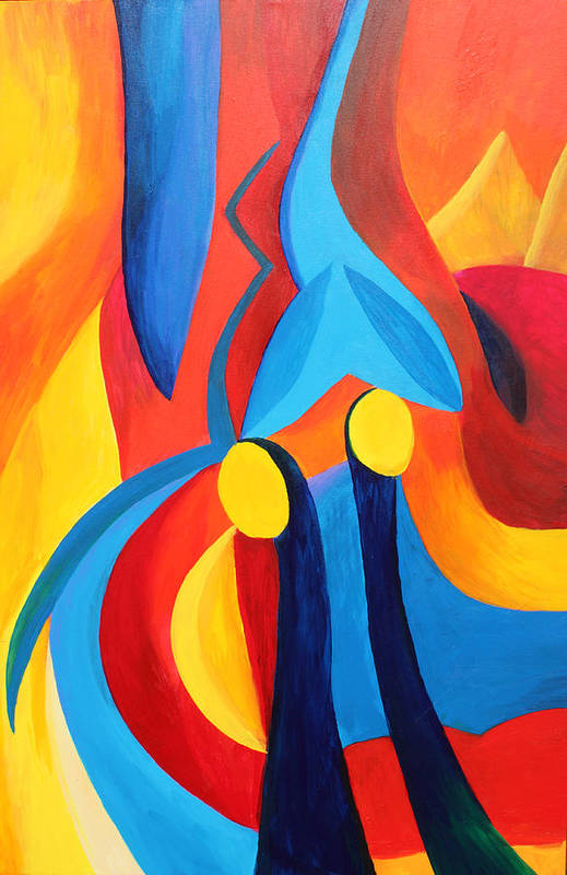 Abstract Art Print featuring the painting Meaningful by Peter Shor