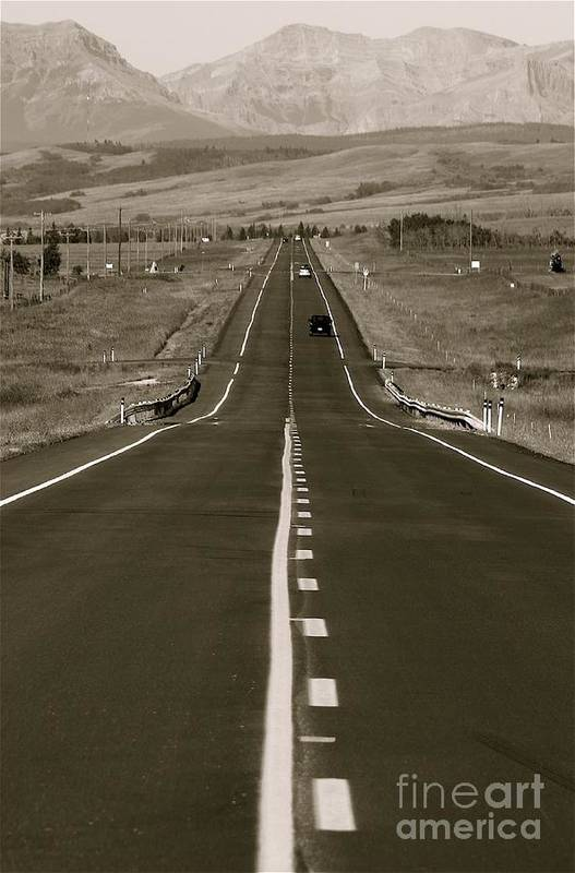 'roads Art Print featuring the photograph Middle Of The Road by David Hubbs