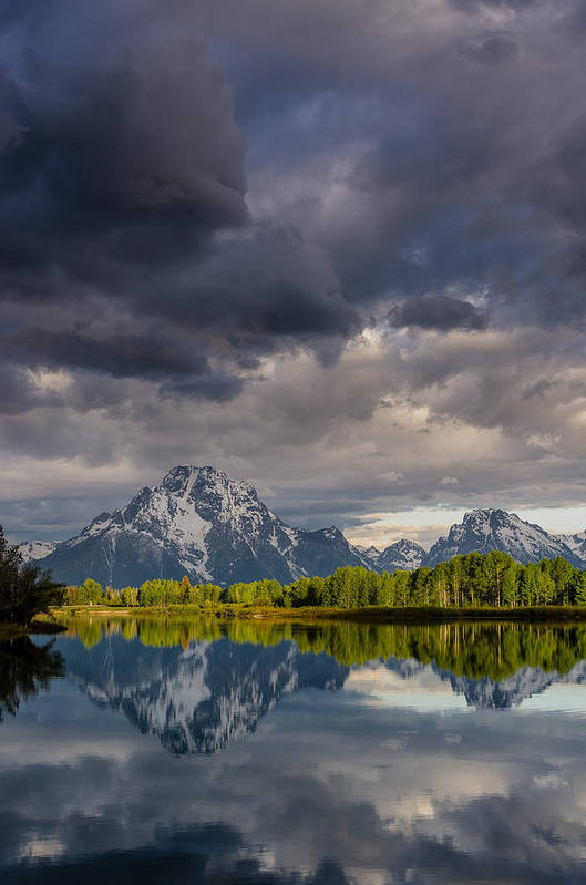 Grand Tetons National Park Art Print featuring the photograph Oxbow Light And Clouds by Greg Nyquist