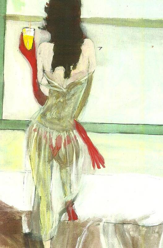 Lingerie Art Print featuring the painting Red Gloves Red Shoes Red Throng 3d by Harry WEISBURD
