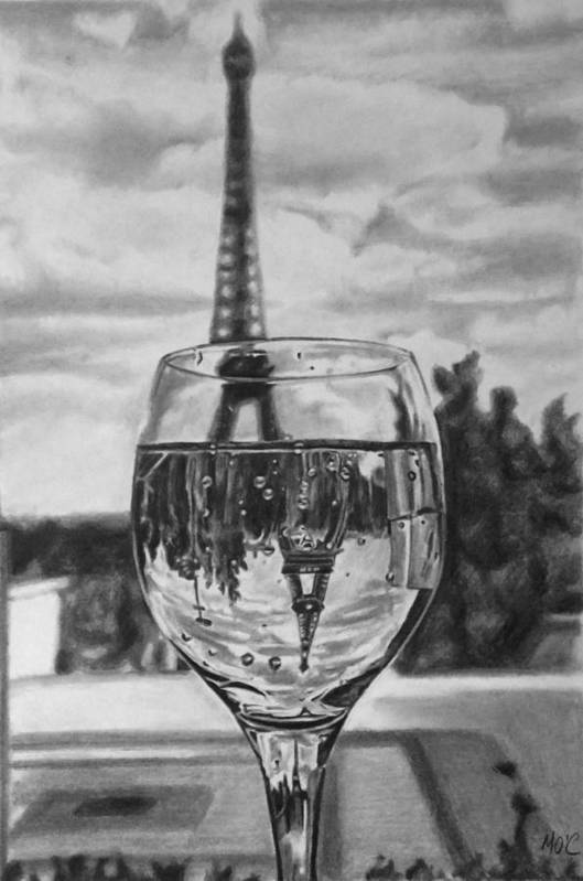 Glass Art Print featuring the drawing Reflexions Francaises by Mike OConnell