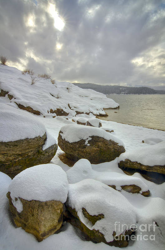 Coeur D'alene Print featuring the photograph Snowcapped by Idaho Scenic Images Linda Lantzy