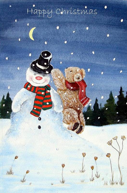 Snowman.xmas.teddy Bear.stars.happy Holiday. Clause.season Winter.christmas Carols.logs.hedge Hog. Bear.snow.mouse.farther Christmas. Trees.holiday.fall.santa Clause.star.balls..mouse.xmas.farther .holiday.fall.santa Clause.bear.star.balls.bear.happy.scarf. Scene.in God We Trust.its A Wonderful Life.miracle On 34th Street.home Aloan.white Christmas.holly.ivy.berries.jesus Birthday. A Christmas Carol.scrouge.humbug.crackers.bells.turkey.sprouts.mulled Wine.decorations.yule Log.wreath.family. Art Print featuring the painting Snowman In Top Hat by Gordon Lavender