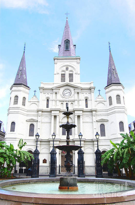 Travelpixpro New Orleans Art Print featuring the digital art St Louis Cathedral And Fountain Jackson Square French Quarter New Orleans Film Grain Digital Art by Shawn O'Brien