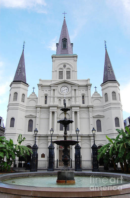 Travelpixpro New Orleans Art Print featuring the photograph St Louis Cathedral And Fountain Jackson Square French Quarter New Orleans by Shawn O'Brien