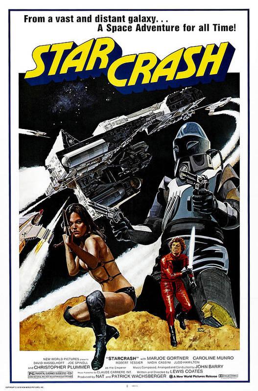 1970s Poster Art Art Print featuring the photograph Starcrash, L-r Caroline Munro, Marjoe by Everett