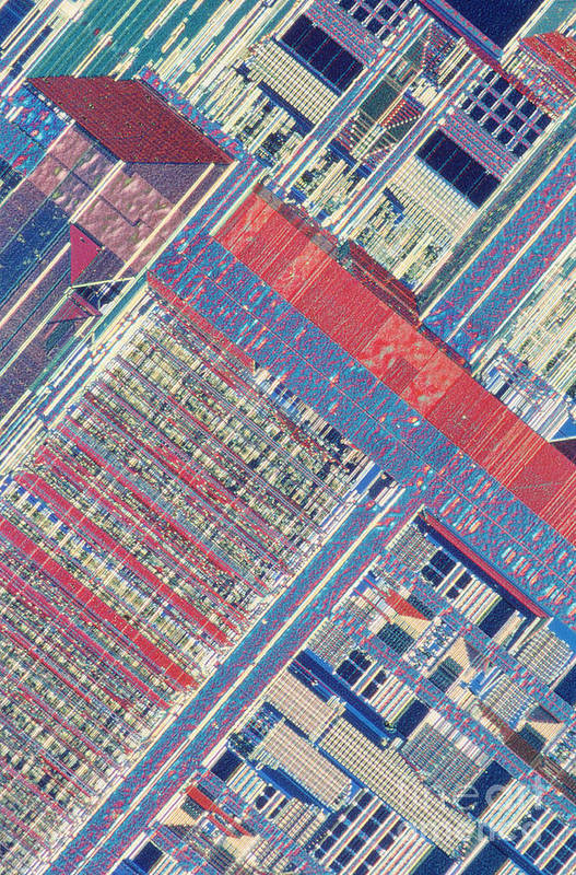 Microprocessor Art Print featuring the photograph Surface Of Integrated Chip by Michael W. Davidson