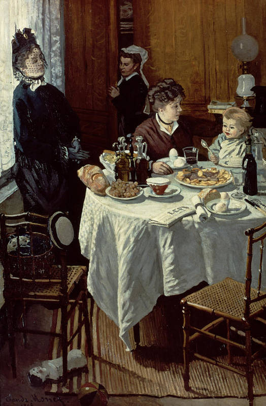 Interior;family;baby;impressionist;maid;feeding;meal;eating;food;daily Life;petit Dejeuner;table;boiled Eggs Print featuring the painting The Breakfast by Claude Monet
