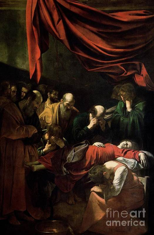 The Death Of The Virgin (oil On Canvas)red Backdrop; Mary; Madonna; Mourning; Mourners; Caravaggio Art Print featuring the painting The Death Of The Virgin by Caravaggio