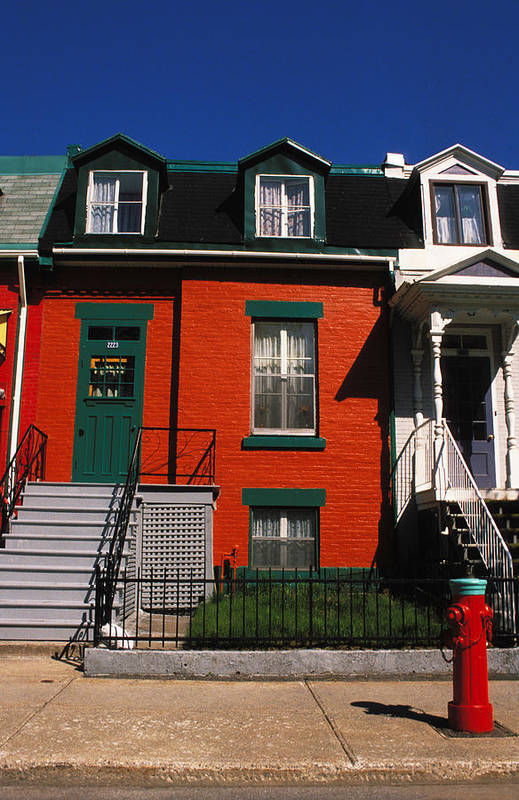 Row House Art Print featuring the photograph The Orange House In Montreal by Carl Purcell