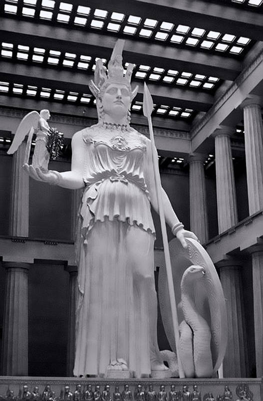 Greek Art Print featuring the photograph The Statue Of Athena Bw by Linda Phelps