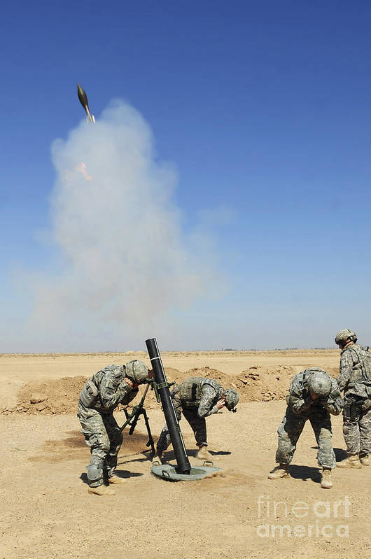 Iraq Art Print featuring the photograph U.s. Army Soldiers Firing An M120 120mm by Stocktrek Images