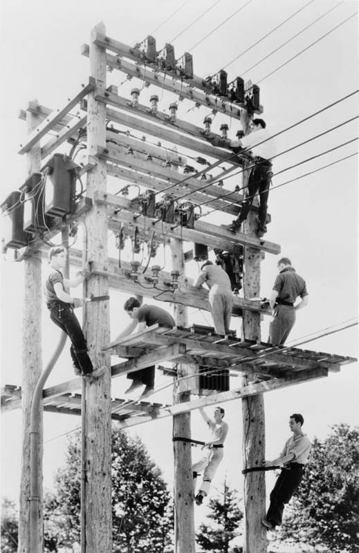 History Art Print featuring the photograph Young Men Working On Telephone Poles by Everett