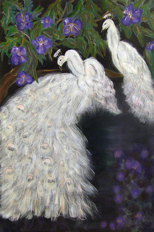 Peacocks Art Print featuring the painting Albino Peacocks by Mikki Alhart