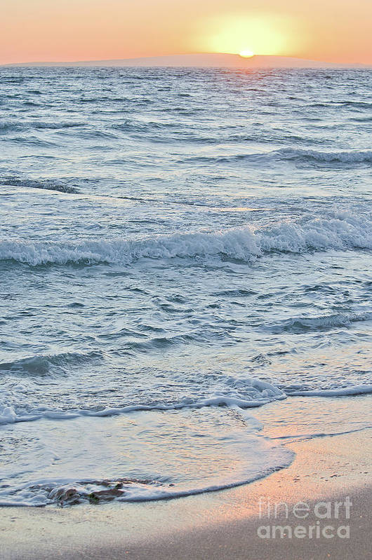 Afternoon Art Print featuring the photograph Golden Sunset And Ocean Horizon by Ingela Christina Rahm