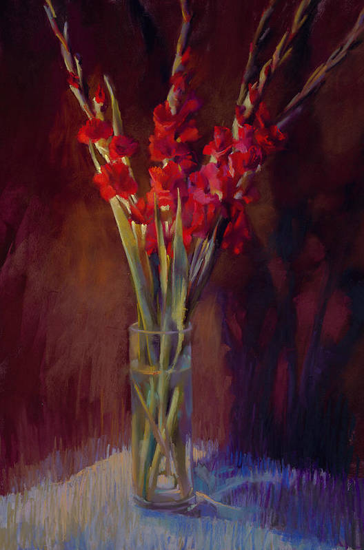 Floral Art Print featuring the painting Red Gladiolus by Cathy Locke