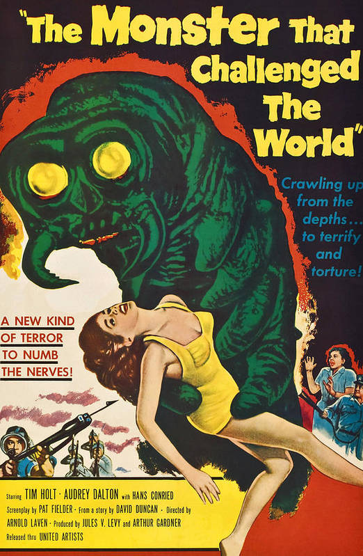1950s Poster Art Art Print featuring the photograph The Monster That Challenged The World by Everett