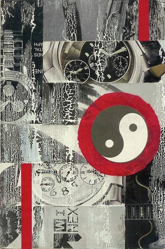 Black Art Print featuring the mixed media Ying Yang by Desiree Paquette