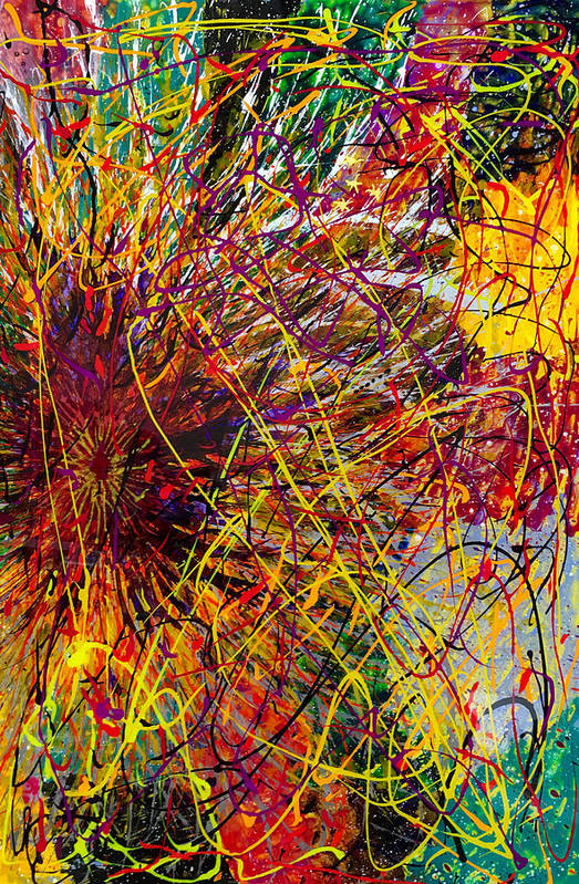 Abstract Art Print featuring the painting 16-10 String Burst by Patrick OLeary