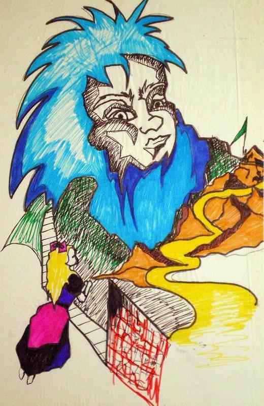 Bluebeard Art Print featuring the drawing Bluebeard by Tammera Malicki-Wong