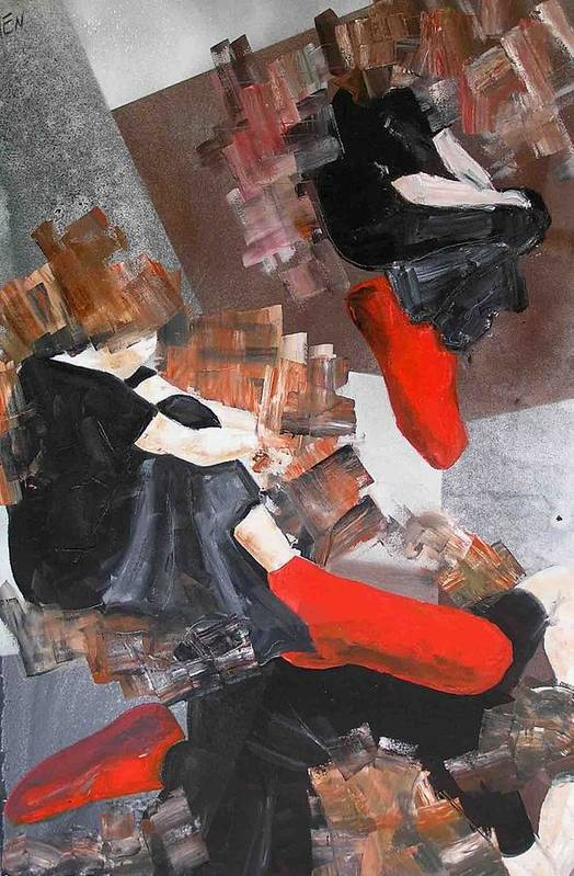 Art Print featuring the painting 3 Siluets In Red Socks by Evguenia Men