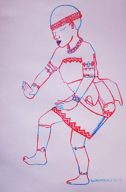 Jesus Art Print featuring the painting Adowa Dance Ghana by Gloria Ssali
