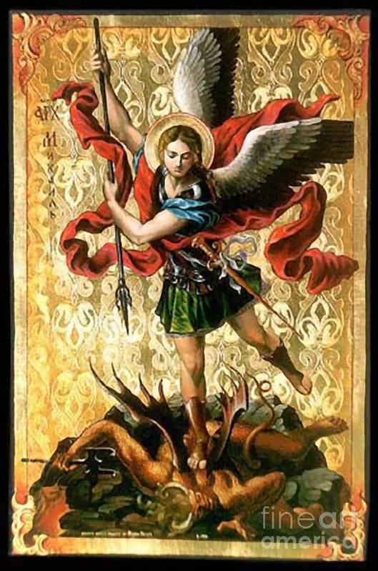 Picture Art Print featuring the painting St. Michael by Archangelus Gallery
