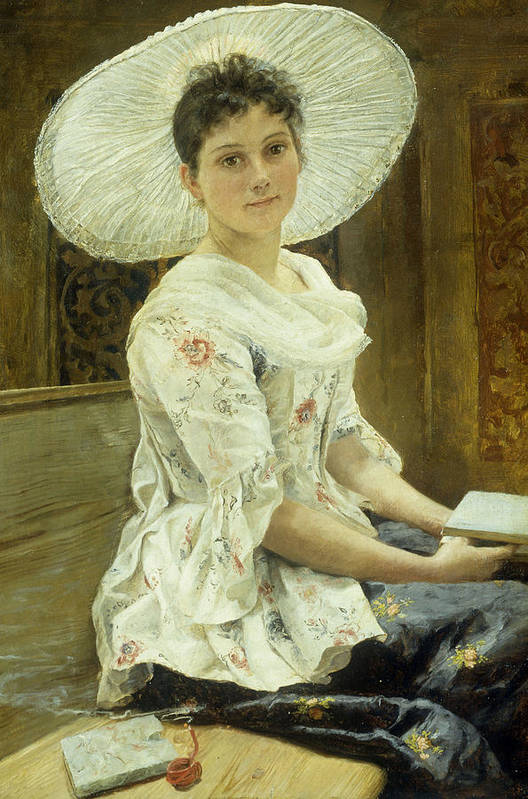 Sat Art Print featuring the painting A Young Beauty In A White Hat by Franz Xaver Simm