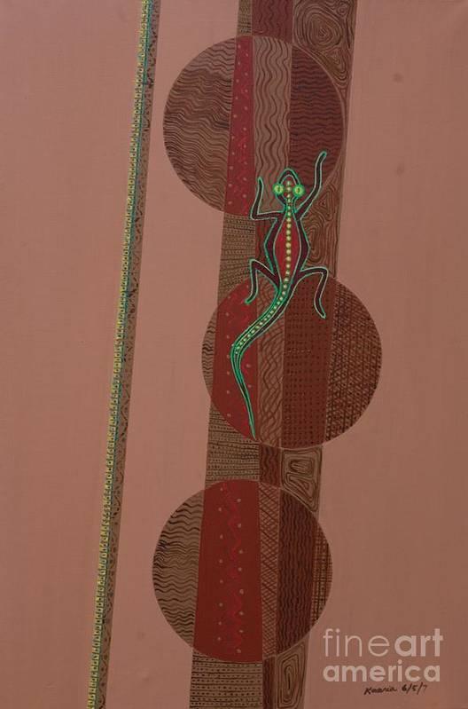 Aboriginal Lizard Art Print featuring the painting Aboriginal Lizard by Kaaria Mucherera