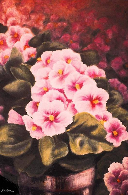 African Violets Art Print featuring the painting African Violets by Jordana Sands
