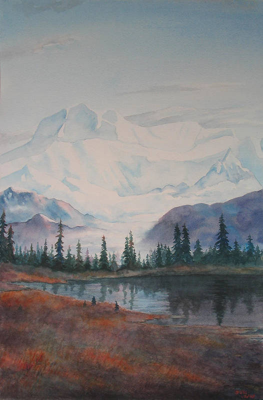Alaska Art Print featuring the painting Alaksa Mountain And Lake by Debbie Homewood