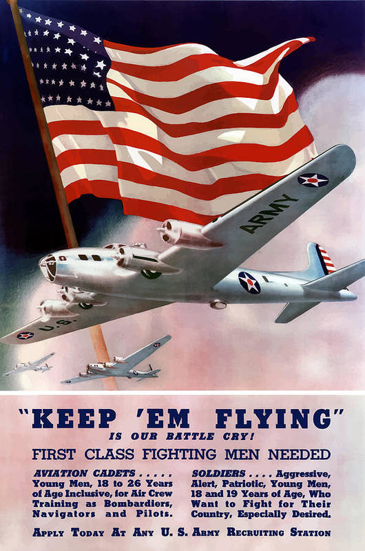 Army Print featuring the painting Army Air Corps Recruiting Poster by War Is Hell Store