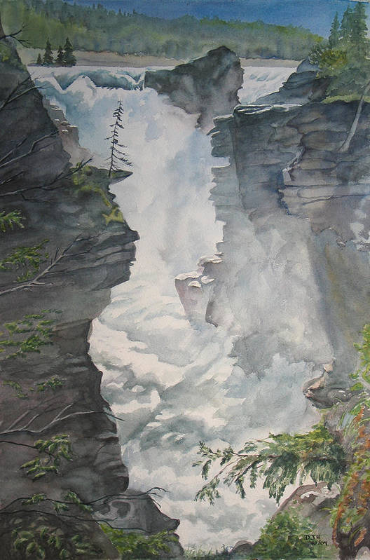 Athabasca Art Print featuring the painting Athabasca Falls Alberta by Debbie Homewood