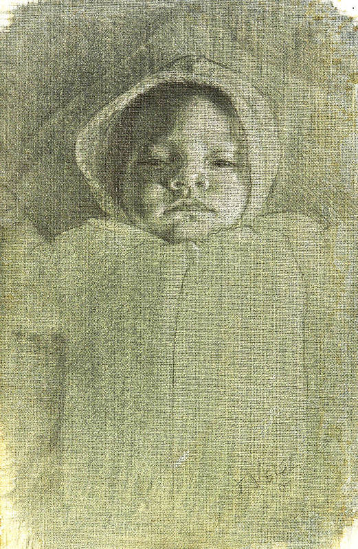 Art Print featuring the painting Baby Self Portrait by Joe Velez