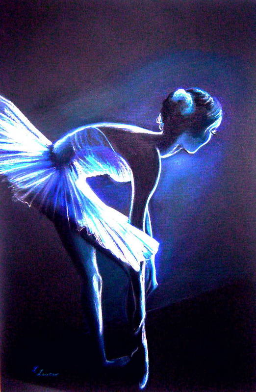 Ballet Art Print featuring the drawing Ballet In Blue by L Lauter