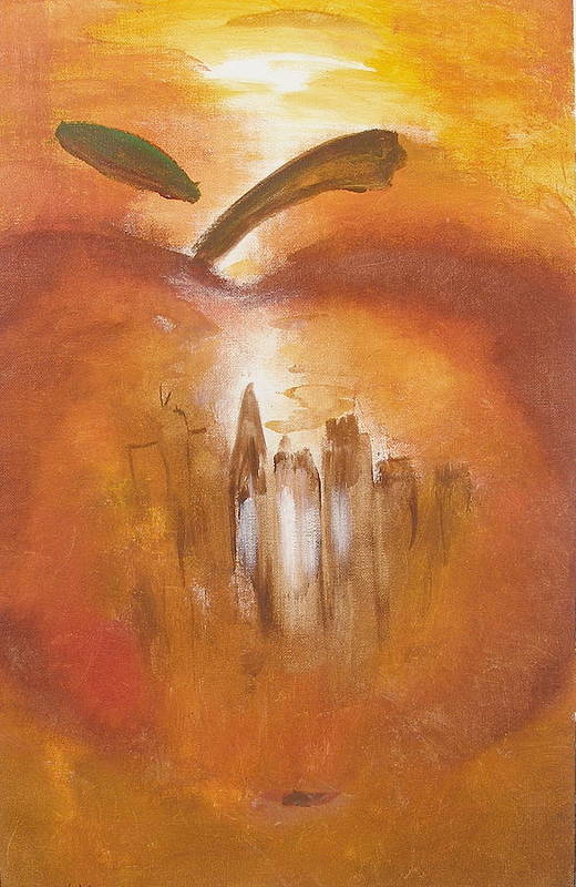 Abstract Painting Big Apple New York City Art Print featuring the painting Big Apple by Miroslaw Chelchowski