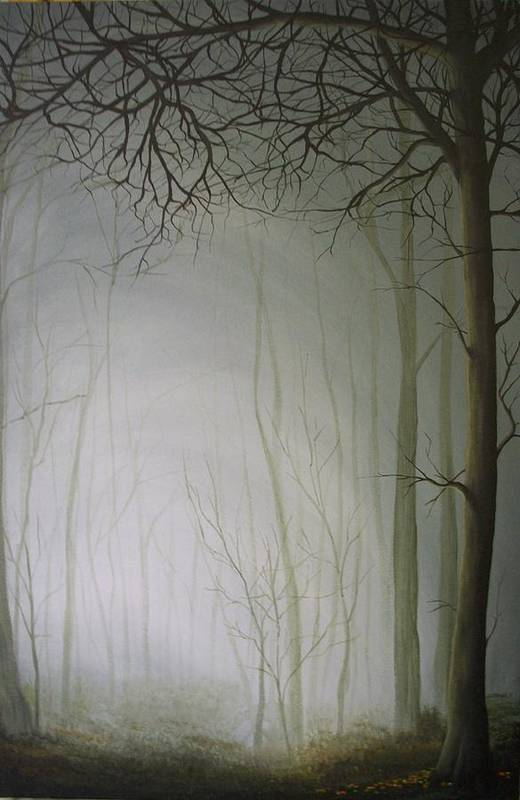 Misty Forest Art Print featuring the painting Big Foggy Day by Derek Clark