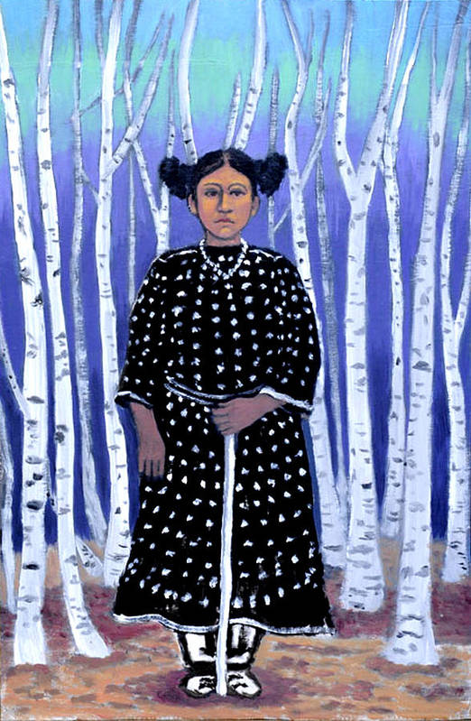 Native American Art Print featuring the painting Birch Tree Forest by Susan Stewart