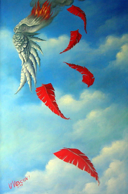 Surreal Art Print featuring the painting Bird On Fire by Valerie Vescovi