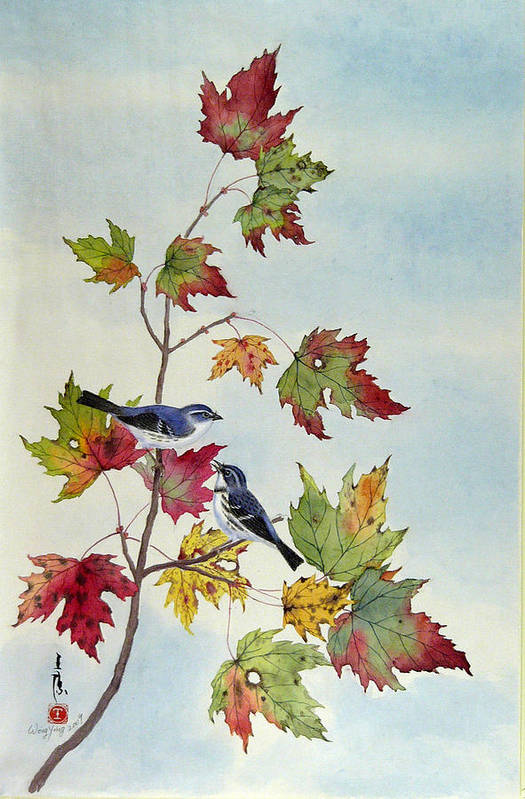 Bird Art Print featuring the painting Birds On Maple Tree 7 by Ying Wong