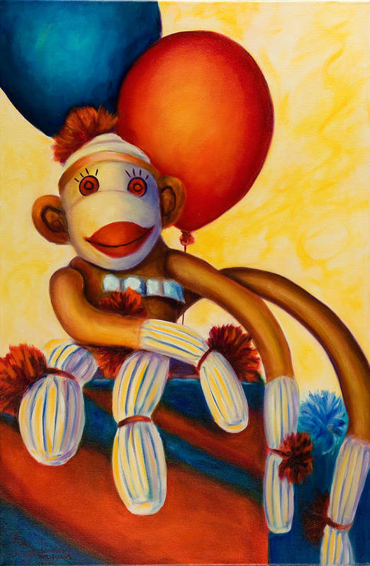 Sock Monkey Brown Art Print featuring the painting Birthday Made Of Sockies by Shannon Grissom