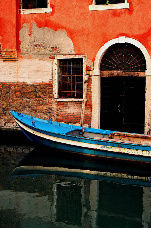 Water Art Print featuring the photograph Blue Boat Venice Italy by Xavier Cardell