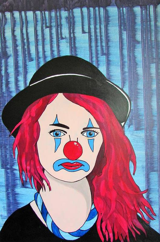 Clown Art Print featuring the painting Blue Clown by Gary Holden