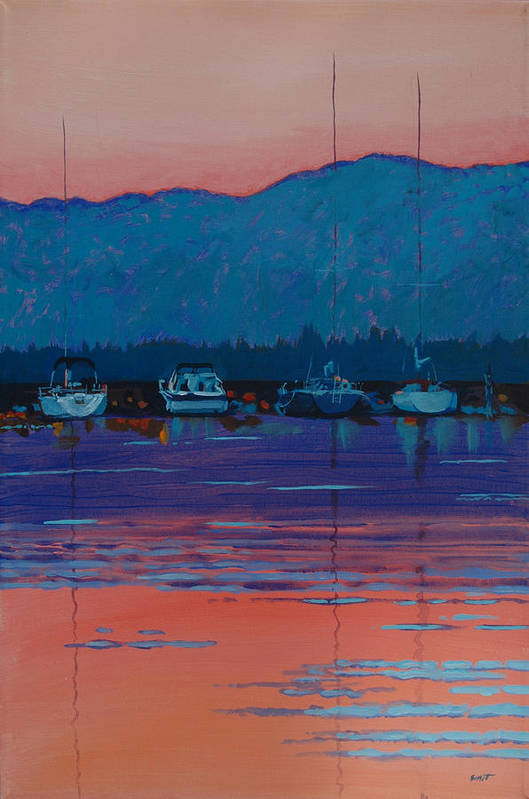 Sail Art Print featuring the painting Boats At Dusk by Robert Bissett