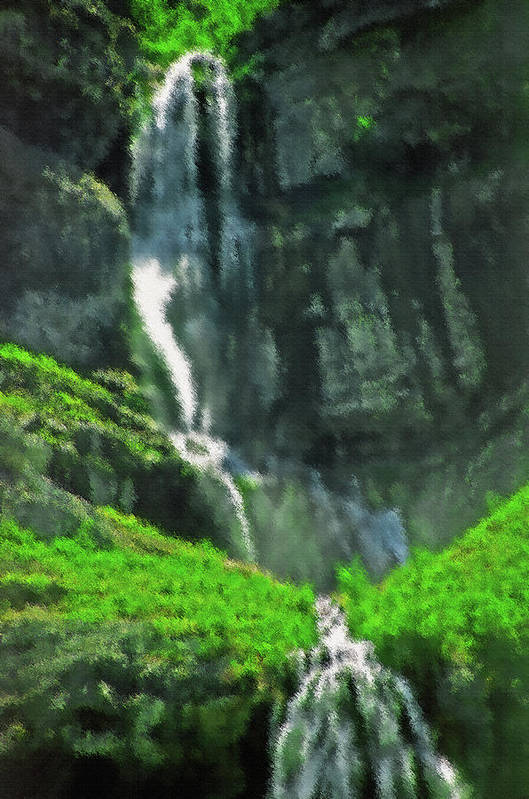 Falls; Fall; Waterfall; Nature; Natural; Water; Falling Water; Cascading Water; Cascading; Falling; Cascading Falls; Cascading Waterfall; Cool; Fresh; Pure; Clean; Rejuvenating; Refreshing; Tranquil; Peaceful; Calming; Quiet; Meditative; Mountainous; Mountains; Summer; Summertime; Scenic; Scenery; Landscape; Rock; Rocky; Canyon Wall; Cliff; Canyon; Provo Canyon; Utah; Bridal Veil Falls; Environmental; Environment; Resource; Earths Resources; Digital Art; Textured; Painterly; Canvas; Artistic Art Print featuring the photograph Bridal Veil Falls Canvas 1 by Steve Ohlsen