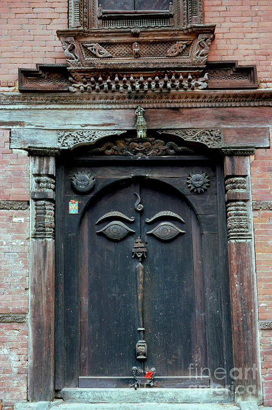 Nepal Art Print featuring the photograph Buddha's Eyes On Nepalese Wooden Door by Anna Lisa Yoder