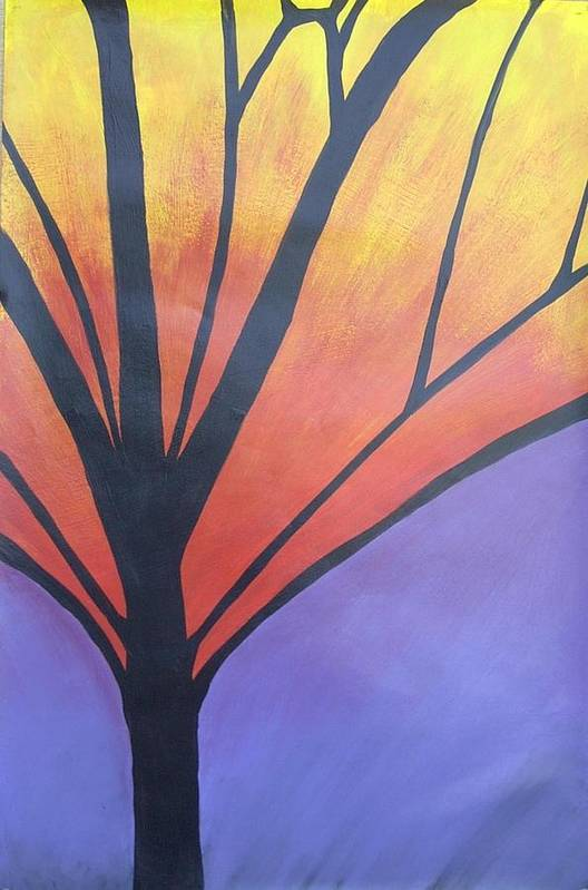 Abstract Tree Butterfly Bright Art Print featuring the painting Butterfly Tree 1 by Sally Van Driest