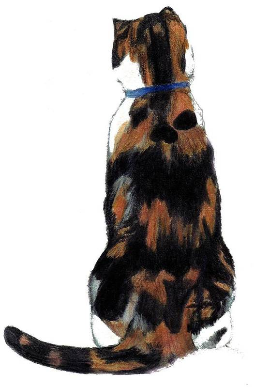 Cat Art Print featuring the painting Calico Cat-attude by Debra Sandstrom